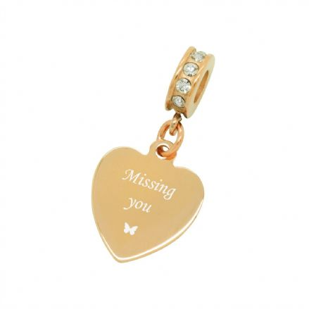 Missing You, Rose Gold Engraved Memorial Charm